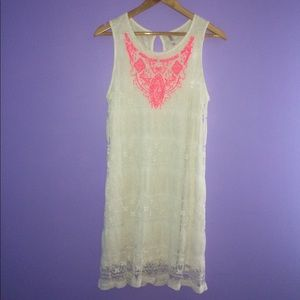 Ivory lace boho festival dress neon accent